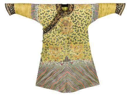 清光緒 明黃緞繡金龍雲壽紋十二章吉服袍