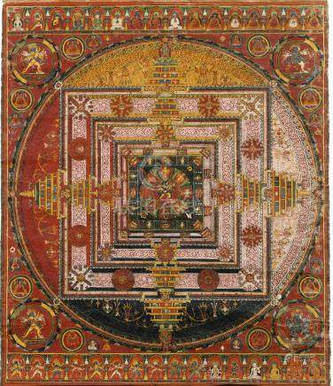 西藏中部鄂爾寺 十五世紀中旬  時輪金剛曼陀羅唐卡 設色布本