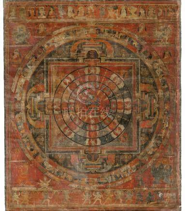 西藏 約十五世紀 勝樂金剛曼陀羅唐卡 設色布本