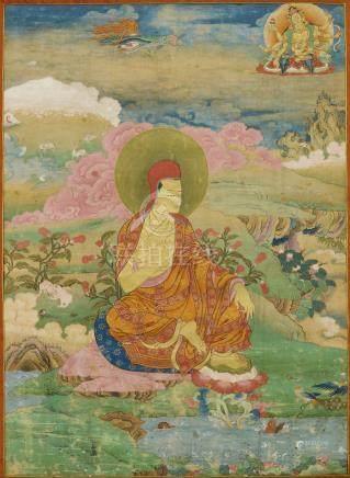 西藏 十六至十七世紀 薩迦喇嘛唐卡 設色布本