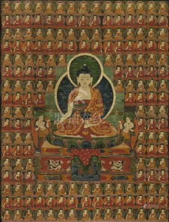 西藏 約一六零零年 藥師如來唐卡 設色布本