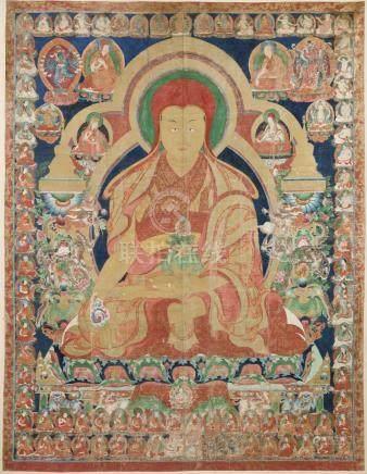 西藏中部衞藏 約一七零四年 鄂爾寺修士唐卡 設色布本