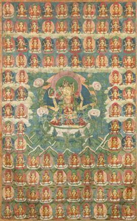 西藏 約十八至十九世紀 尊勝佛母唐卡 設色布本