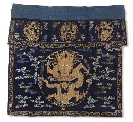 AN EMBROIDERED MIDNIGHT-BLUE-GROUND 'DRAGON' ALTAR FRONTAL