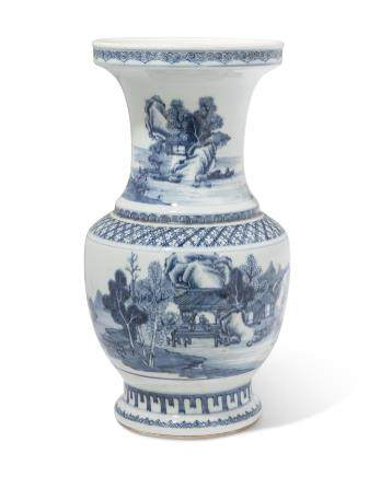 A LARGE BLUE AND WHITE 'LANDSCAPE' VASE