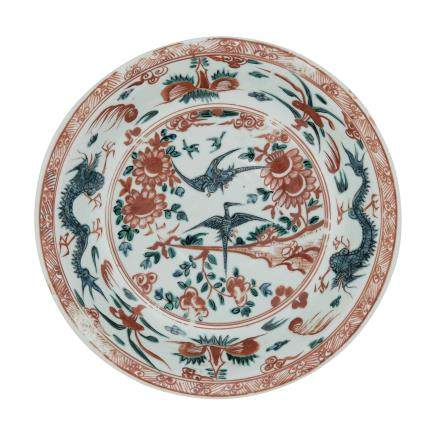 A LARGE ZHANGZHOU 'BIRD AND FLOWER' DISH