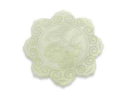 A PALE GREENISH-WHITE JADE FOLIATE PLAQUE