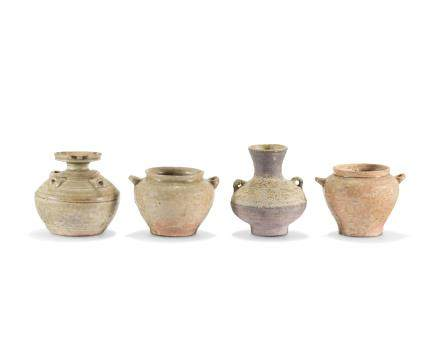 A GROUP OF FOUR POTTERY VESSELS