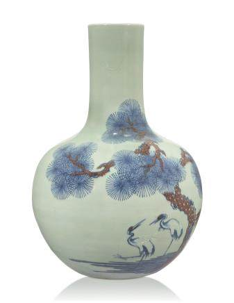 A CELADON-GROUND UNDERGLAZE BLUE AND COPPER-RED-DECORATED VASE, TIANQIUPING