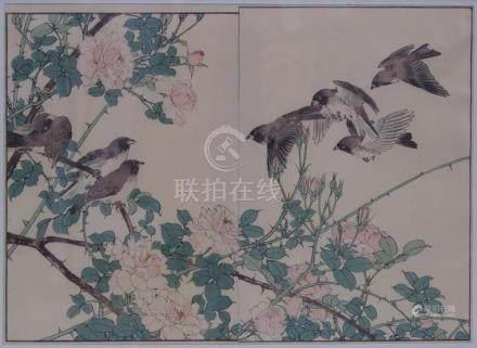 Imao Keinen 今尾 景年 (1845 - 1924) : A flock of birds above a r