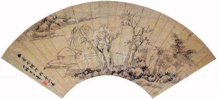 A folding fan with an ink literati landscape in the style of