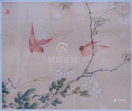 China 19th century: Two red birds above chrusanthemums.