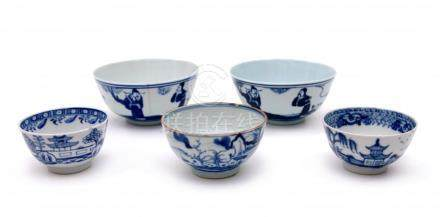 Five Chinese porcelain bowls