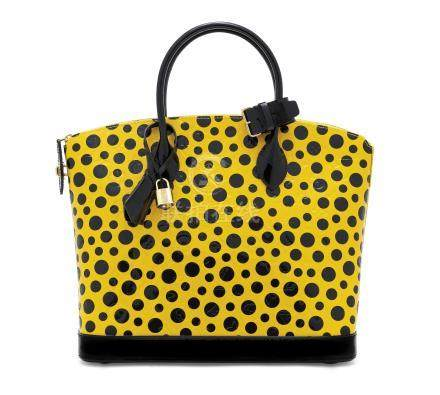 A SET OF TWO: A LIMITED EDITION YELLOW MONOGRAM VERNIS INFINITY DOTS LOCKIT & ZIPPY WALLET WITH GOLD HARDWARE BY YAYOI KUSAMA