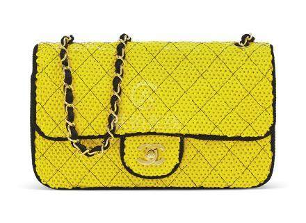 A YELLOW SEQUIN SINGLE FLAP BAG WITH GOLD HARDWARE