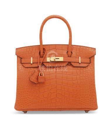 A MATTE ORANGE POPPY ALLIGATOR BIRKIN 30 WITH GOLD HARDWARE