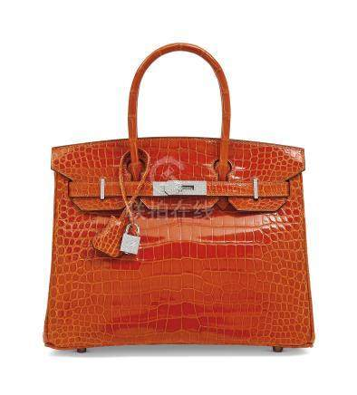 AN EXCEPTIONAL, SHINY ORANGE H POROSUS CROCODILE DIAMOND BIRKIN 30 WITH 18K WHITE GOLD & DIAMOND HARDWARE