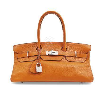 A POTIRON CLÉMENCE LEATHER JPG SHOULDER BIRKIN 42 WITH PALLADIUM HARDWARE