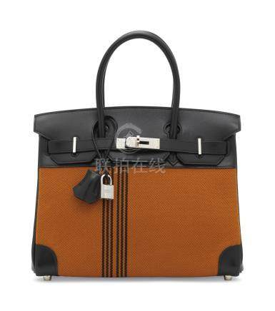 A LIMITED EDITION BLACK CALF BOX LEATHER & POTIRON CANVAS POTAMOS BIRKIN 30 WITH PALLADIUM HARDWARE