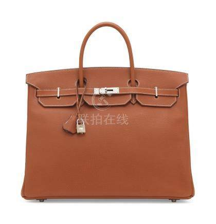 A BRIQUE VACHE LIÉGÉE LEATHER BIRKIN 40 WITH PALLADIUM HARDWARE