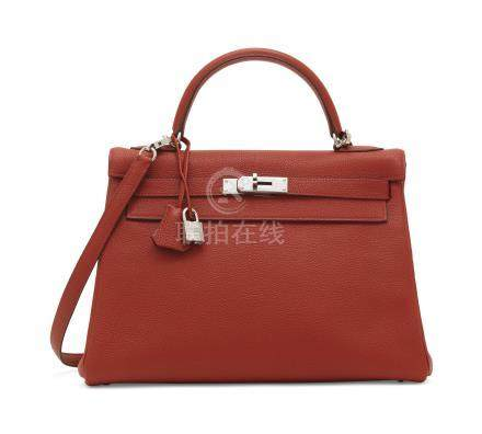 A ROUGE GARANCE TOGO LEATHER RETOURNÉ KELLY 32 WITH PALLADIUM HARDWARE