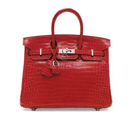 A SHINY BRAISE POROSUS CROCODILE BIRKIN 25 WITH PALLADIUM HARDWARE