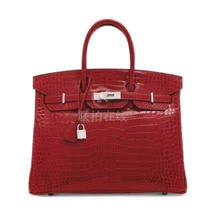 AN EXCEPTIONAL, SHINY BRAISE POROSUS CROCODILE DIAMOND BIRKIN 35 WITH 18K WHITE GOLD & DIAMOND HARDWARE