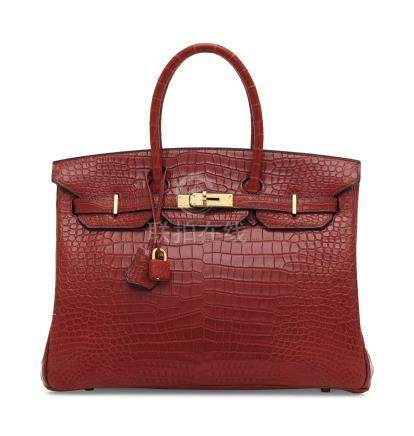 A MATTE ROUGE CERISE POROSUS CROCODILE BIRKIN 35 WITH GOLD HARDWARE