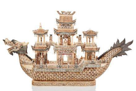Chinese Carved and Polychromed Ivory Dragon Boat