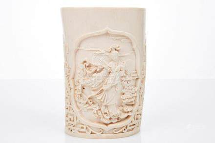 Chinese Carved Ivory Vase