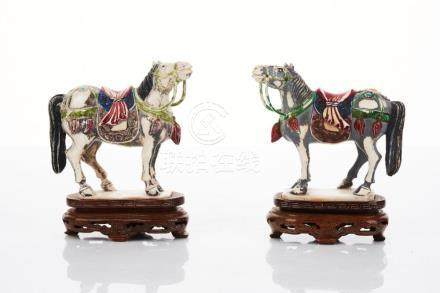 Pair of Chinese Carved Ivory Horses