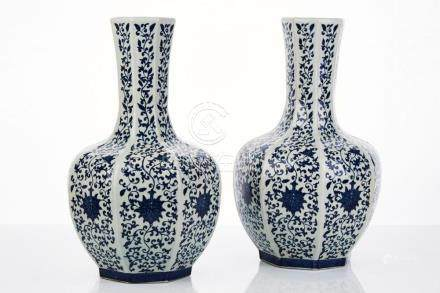 Large Pair of Chinese Blue and White Vases