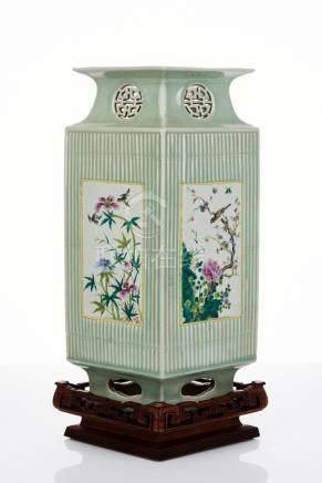 Chinese Diamond Shaped Vase