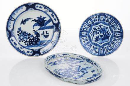 Three Chinese Export Blue and White Porcelain Plates