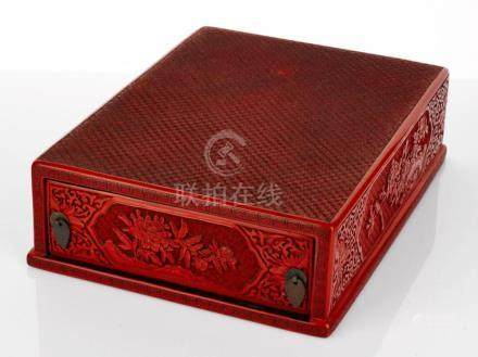 Chinese Cinnabar Lacquer Stationery Box