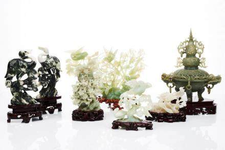 Chinese Carved Jade and Hardstone Figural Groups of Birds