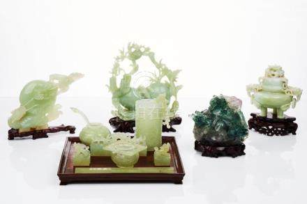 Assorted Chinese Dragon Jade and Hardstone Carvings