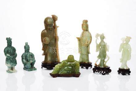 Chinese Carved Jade and Hardstone Figures