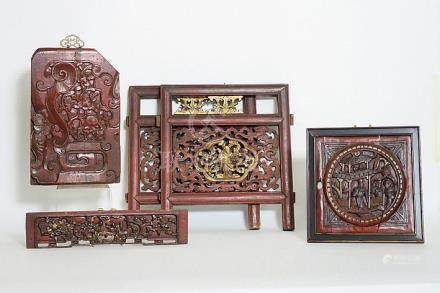 several antique and old Chinese (bed) panels, one with a fô