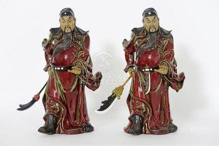 two Chinese 'warrior' figures in earthenware