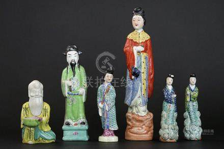 six Chinese figures in porcelain