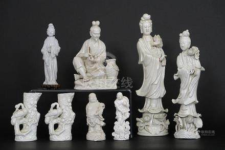 8 Chinese sculptures in 'blanc de Chine' porcelain
