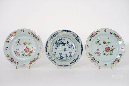 three 18th Cent. Chinese plates in porcelain, one blue-white