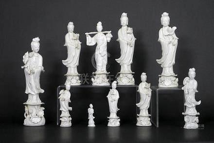 ten Chinese 'Quan Yin' sculptures in porcelain