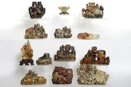 several Chinese inkwells (and some other) in carved soapston