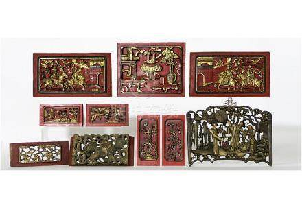 several antique and old Chinese sculpted panels