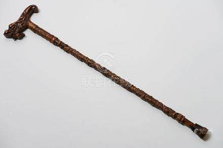 Chinese walkingstick with sculpted decor
