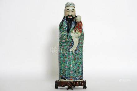 """Chinese """"Sage with child"""" sculpture in porcelain - with its"""