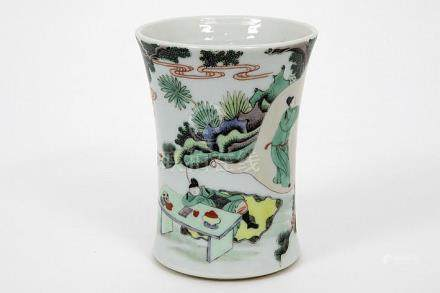 Chinese brush vase in marked 'Famille Verte' porcelain