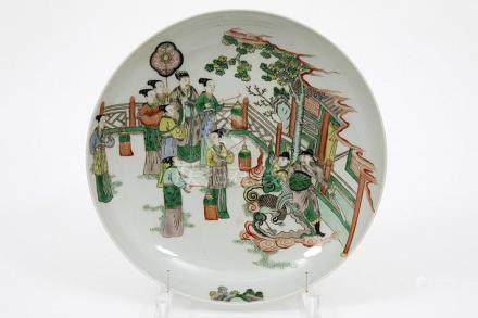 antique round Chinese dish in marked 'Famille Verte' porcela